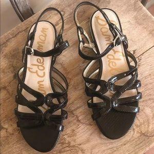 SAM EDELMAN Black Patent Leather Flat Sandals NEW!